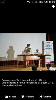 Presentazione di Se il Chicco di grano, a Cineletterando in fest, Badia grande, Sciacca. Relatore D. Baldo Reina.